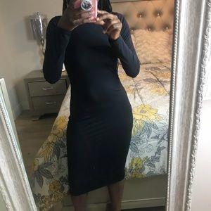 Zara Midi Scuba Long Sleeve Midi Dress